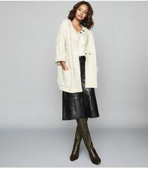 reiss orla - textured oversized cardigan in grey, womens, size xxl