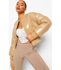 gewatteerde vinyl jas, stone