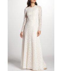 women's tadashi shoji sheer sleeve lace a-line gown, size 14 - ivory