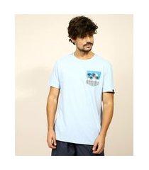 camiseta masculina natureza com bolso manga curta gola careca azul claro