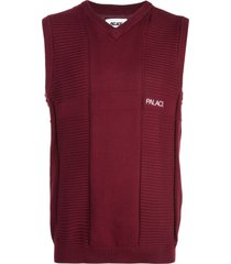 palace short-sleeve knitted vest - red