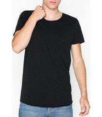 jack & jones jjebas tee ss u-neck noos t-shirts & linnen svart