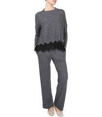 memoi women's 2-piece lace hem top & pants lounge set - charcoal - size xl
