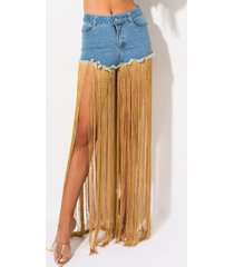 akira golden slumbers denim fringe shorts