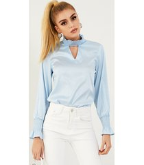 yoins elegante blusa de manga larga con cuello alto y satén fruncido