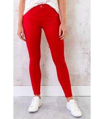 skinny jeans high waist rood
