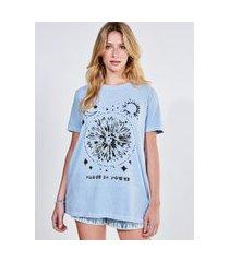camiseta alongada azul mística