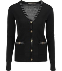 tory burch madeline cardigan with logo buttons