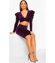 petite fluwelen opgeknoopte top en rok set, purple