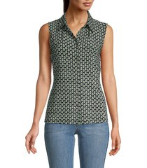 tommy hilfiger women's printed collared sleeveless top - midnight leaf - size xs