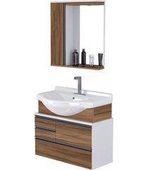 kit gabinete + espelheira para banheiro 83,5cm mdp 15mm firenze nogal sevilha com cuba - rorato - rorato