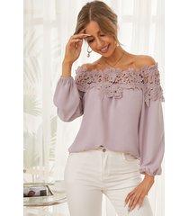 blusa con hombros descubiertos y adornos de encaje de ganchillo yoins