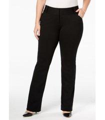 alfani plus size tummy-control petite plus faux-leather trim trousers, created for macy's