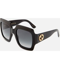 gucci women's large square frame sunglasses - black/grey
