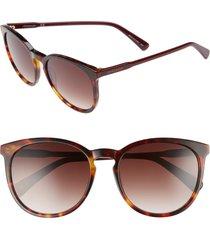 women's longchamp 56mm round sunglasses - havana burgundy