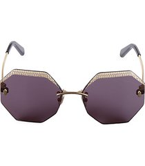 61mm frameless geometric sunglasses