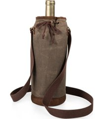 legacy by picnic time khaki green waxed canvas wine tote