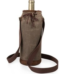 legacy by picnic time waxed canvas wine tote, (khaki green)