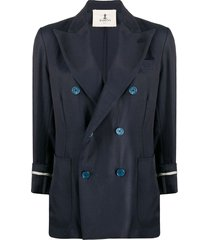 barena exposed-cuff double breasted jacket - blue