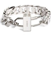 givenchy men's lock g-chain bracelet, size 3 in silvery at nordstrom