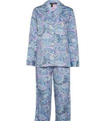 lrl 3/4 sl. notch collar long pant pj pyjama blauw lauren ralph lauren homewear