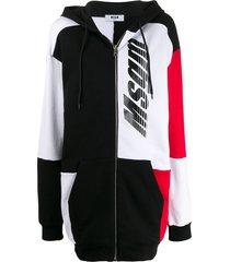 msgm graphic print long hoodie - black