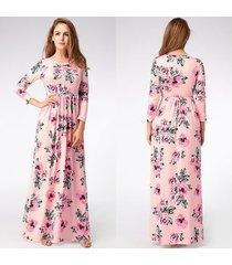vestido largo estampado floral para mujer correa con cuello en v vestidos de playa divididos media manga suelta vestidos-pink01