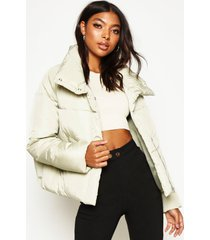 tall crop padded funnel neck jacket, sage