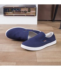 uomini canvas pure color low top comodi slip a casual mocassini