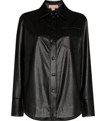 materiel faux leather shirt - black