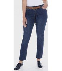 jeans recto push up con cinturón azul lorenzo di pontti
