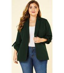 yoins plus talla blazer verde con cuello de solapa