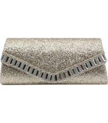 bolsa clutch liage envelope tecido brilhante brilho bordada pedra strass glitter alça metal dourada - tricae