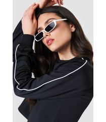 na-kd cropped track sweatshirt - black