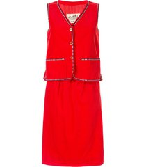hermès pre-owned arrow piping ribbed skirt and vest set - red