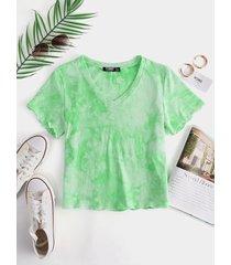 yoins camisetas verdes de manga corta con cuello en v