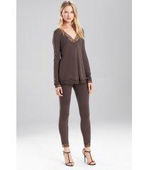 undercover top pajamas, women's, grey, size m, josie natori