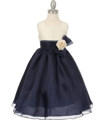 ivory navy blue two tone organza square neck matching corsage flower girl dress