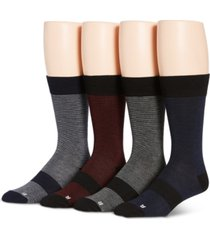 perry ellis men's 4-pk soft luxury ergonomic fit feeder stripe socks