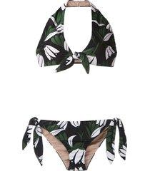 adriana degreas printed halter neck bikini set - multicolour