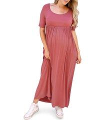 women's ingrid & isabel elbow sleeve maternity maxi dress, size small - pink