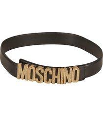 moschino crystal embellished logo belt