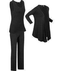 top, giacca, pantaloni sostenibili (set 3 pezzi) (nero) - bpc bonprix collection