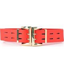 cinturon elastico 2 hebillas rojo mailea