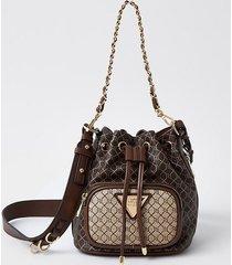 river island womens brown ri faux leather duffle bag