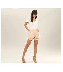 lez a lez - shorts hot pant califórnia broche bege papiro