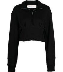 1017 alyx 9sm cropped zip-front sweatshirt - black