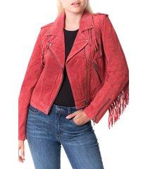 women's blanknyc fringe trim suede moto jacket, size x-small - red