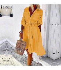 zanzea verano de las mujeres casual camisa con botones vestido de la correa del lazo holgado flojo sundress -amarillo