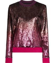 mary katrantzou magpie ombré-effect sequinned sweatshirt - pink